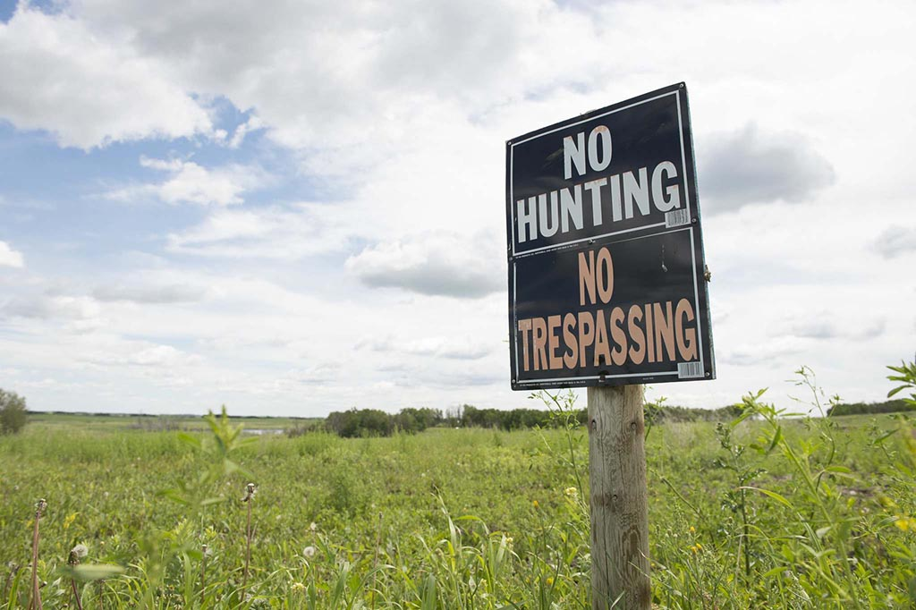 no hunting and no trespassing sign in a meadow