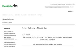 provincial press release related to sustainability of lake winnipeg fishery