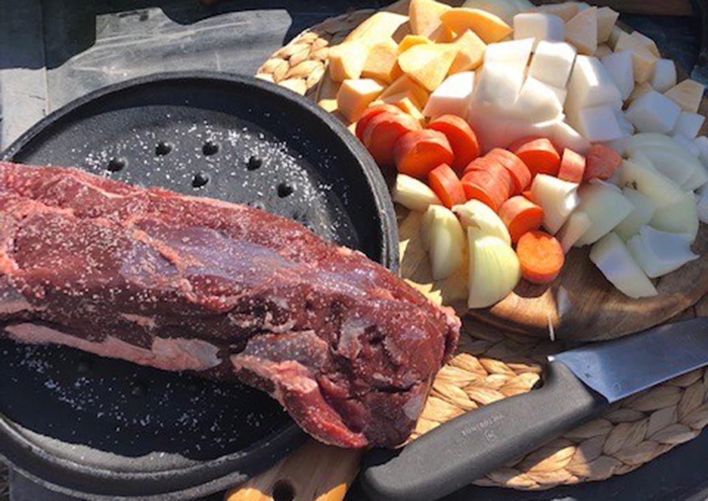 venison stew ingredients laid out artistically